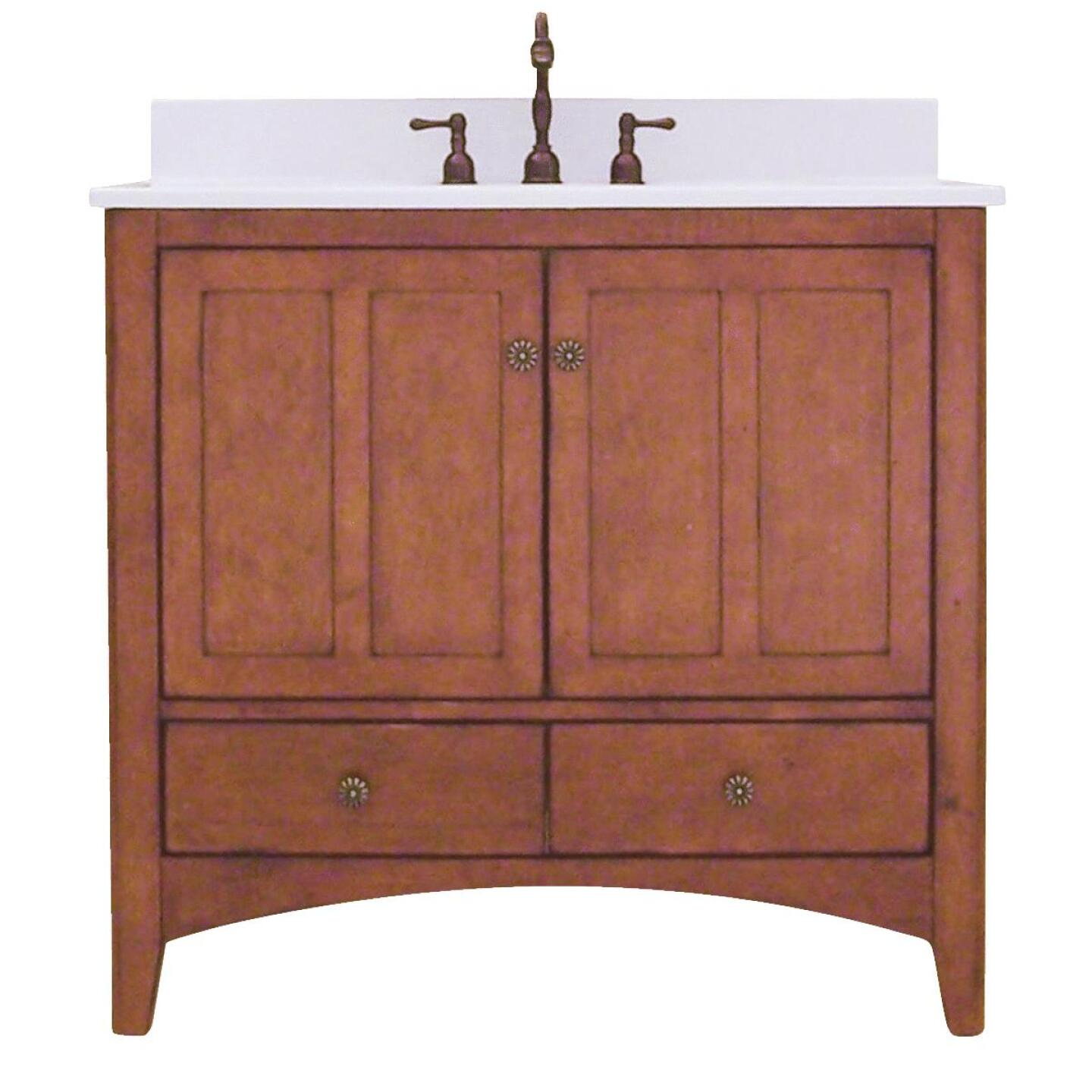 Sunny Wood Expressions Warm Cinnamon 36 In. W x 34 In. H x 21-1/4 In. D Vanity Base, 2 Door/2 Drawer Image 1