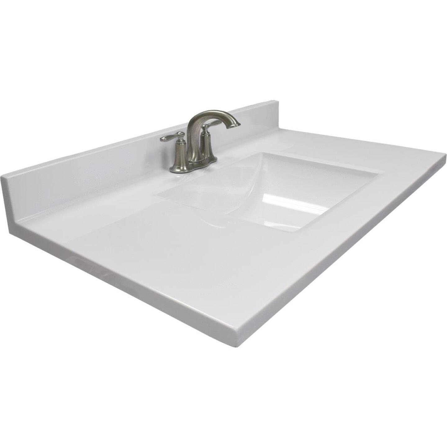 Modular Vanity Tops 37 In. W x 22 In. D Solid White Cultured Marble Vanity Top with Rectangular Wave Bowl Image 1