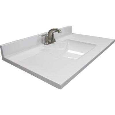 Modular Vanity Tops 37 In. W x 22 In. D Solid White Cultured Marble Vanity Top with Rectangular Wave Bowl