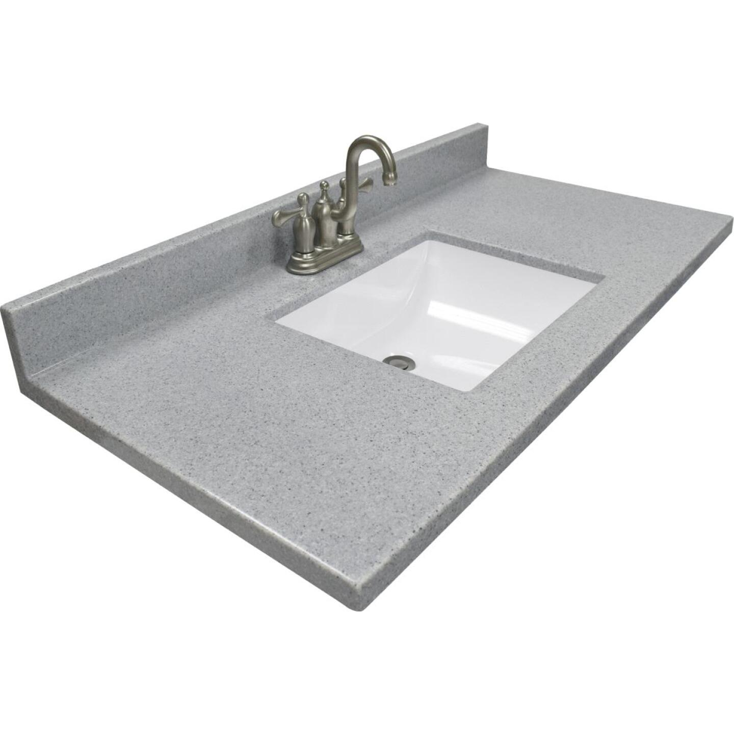 Modular Vanity Tops 37 In. W x 22 In. D Pewter Cultured Marble Vanity Top with Rectangular Wave Bowl Image 1