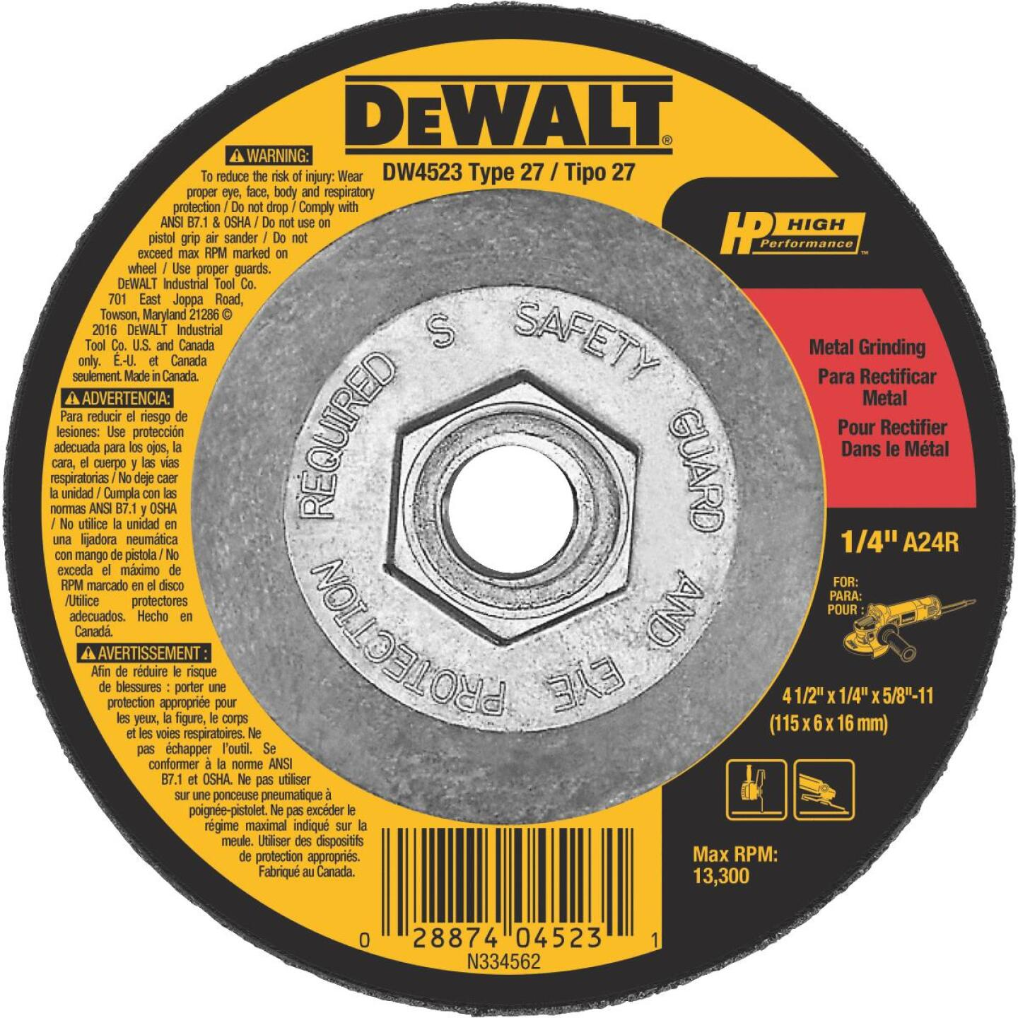 DeWalt HP Type 27 4-1 In. x 1/4 In. x 5/8 In.-11 Metal Grinding Cut-Off Wheel Image 1