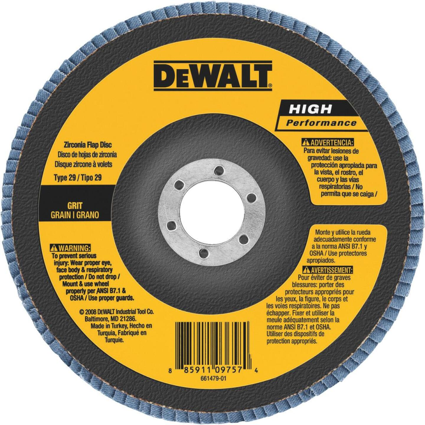 DeWalt 6 In. x 5/8 In.-11 60-Grit Type 29 High Performance Zirconia Angle Grinder Flap Disc Image 1