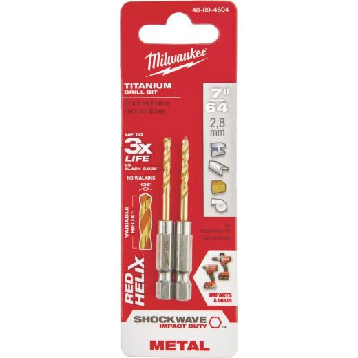Milwaukee Shockwave Impact Duty 7/64 In. Titanium Hex Shank Drill Bit