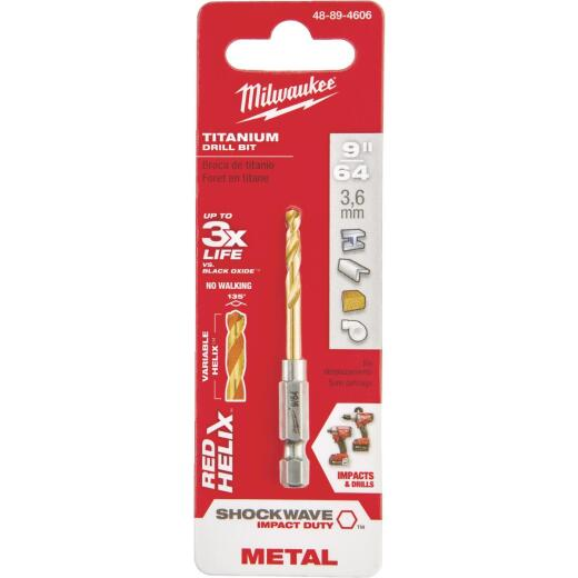Milwaukee Shockwave Impact Duty 9/64 In. Titanium Hex Shank Drill Bit