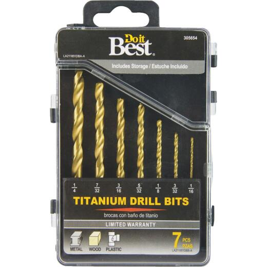 Do it Best 7-Piece Titanium Drill Bit Set, 1/16 In. thru 1/4 In.