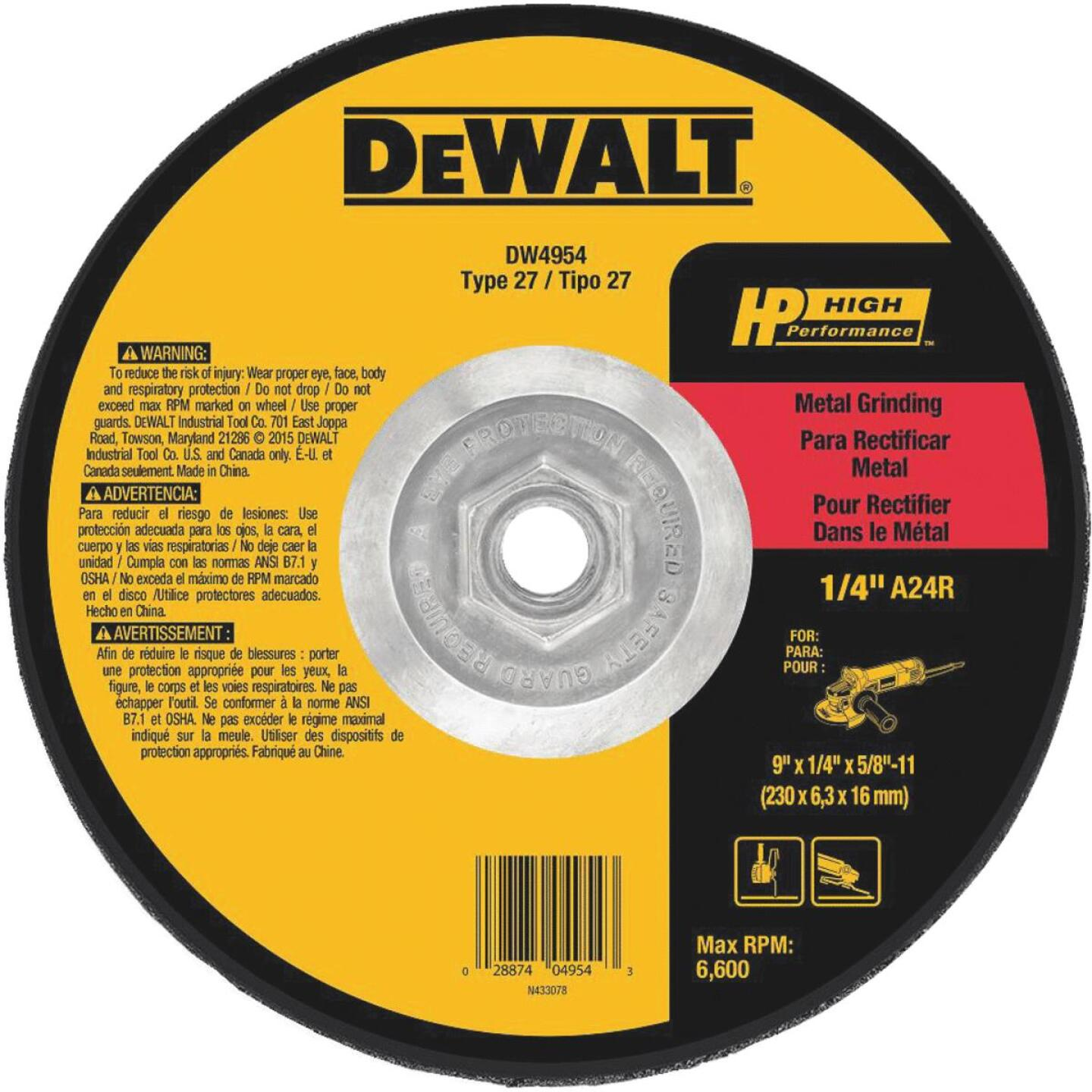 DeWalt HP Type 27 9 In. x 1/4 In. x 5/8 In.-11 Metal Grinding Cut-Off Wheel Image 1