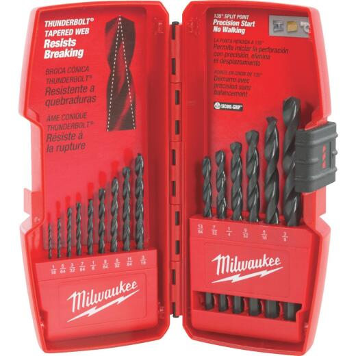 Milwaukee Thunderbolt 15-Piece Black Oxide Drill Bit Set, 1/16 In. thru 3/8 In.
