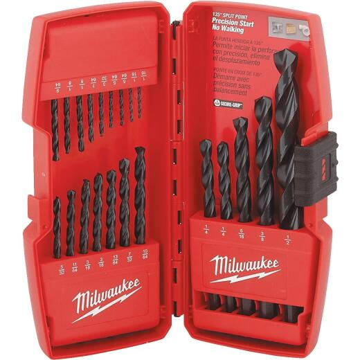 Milwaukee Thunderbolt 21-Piece Black Oxide Drill Bit Set, 1/16 In. thru 1/2 In.