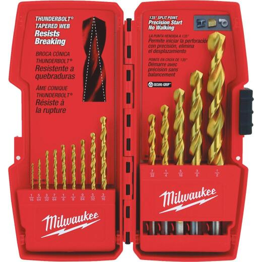 Milwaukee Thunderbolt 14-Piece Titanium Drill Bit Set, 1/16 In. thru 1/2 In.