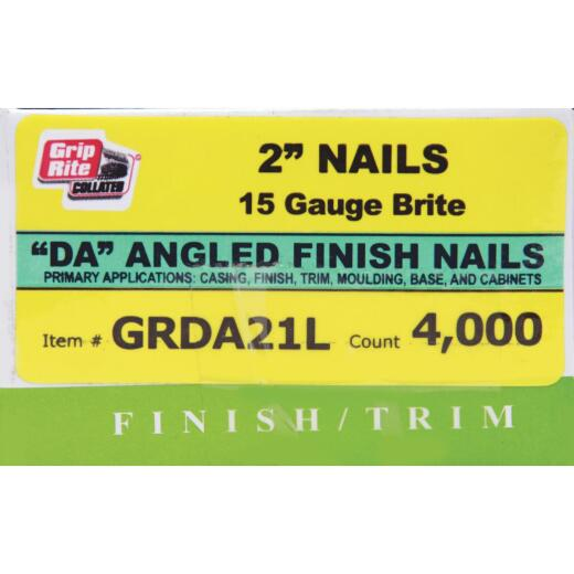 Grip-Rite 15-Gauge Bright 34 Degree DA-Style Angled Finish Nail, 2 In. (4000 Ct.)