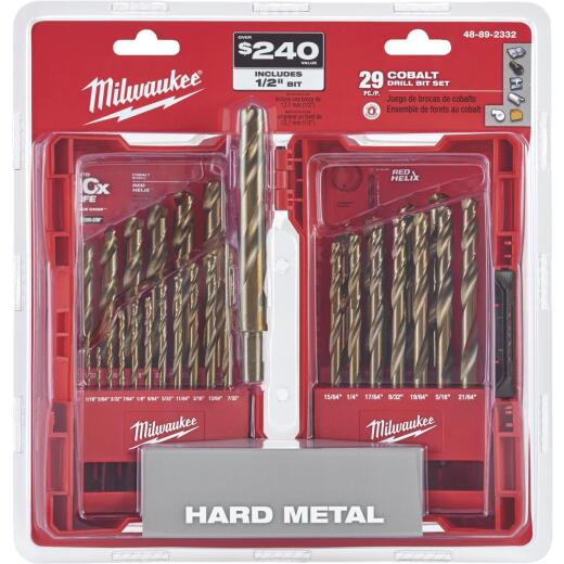 Milwaukee Red Helix 29-Piece Cobalt Drill Bit Set, 1/16 In. thru 1/2 In.