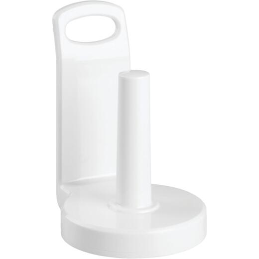 iDesign Counter Top White Plastic Paper Towel Holder Stand