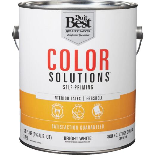 Do it Best Color Solutions Latex Self-Priming Eggshell Interior Wall Paint, Bright White, 1 Gal.