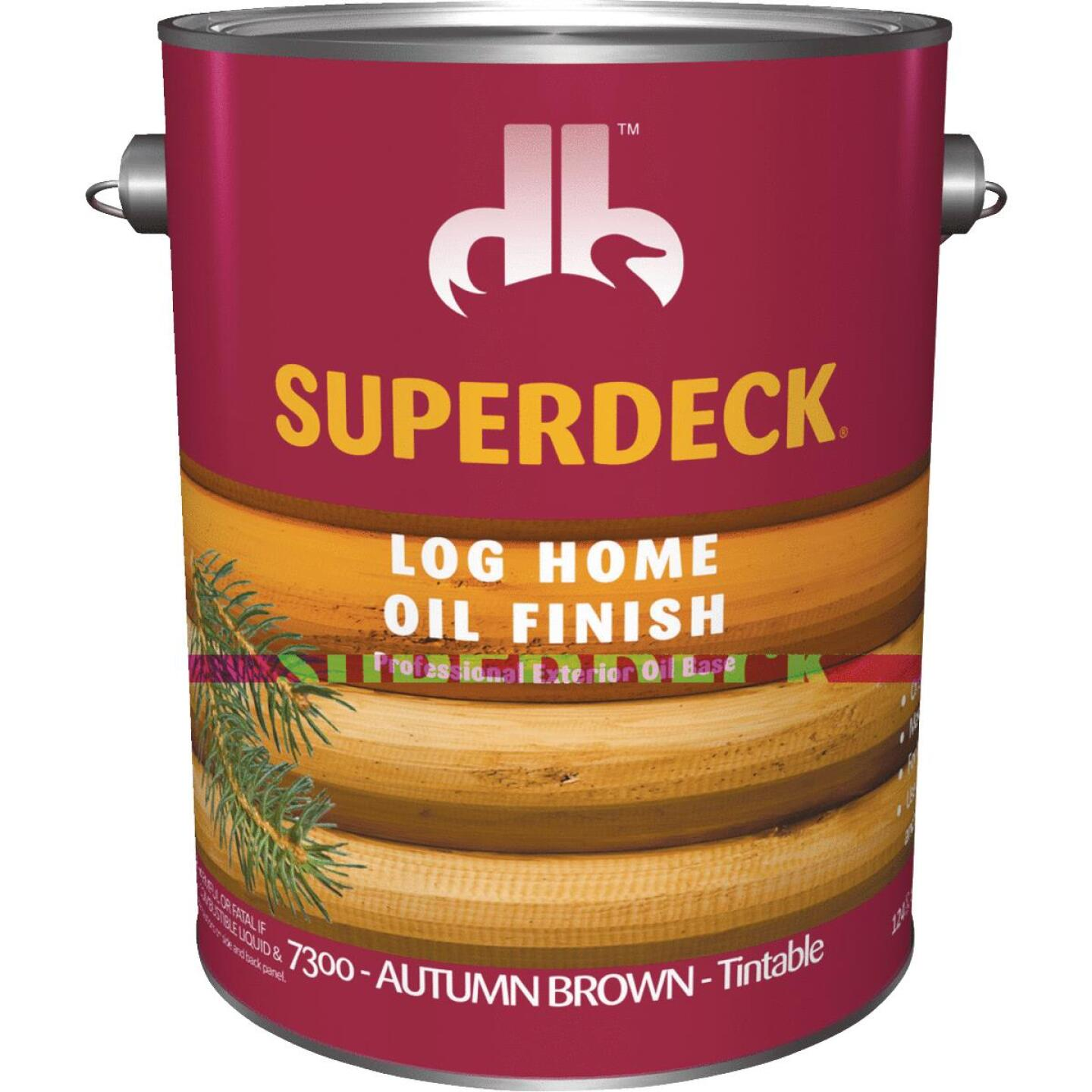 Duckback SUPERDECK VOC Translucent Log Home Oil Finish, Autumn Brown, 1 Gal. Image 1